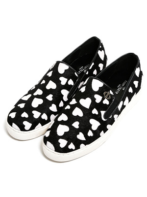 Heart pony hair slip-on
