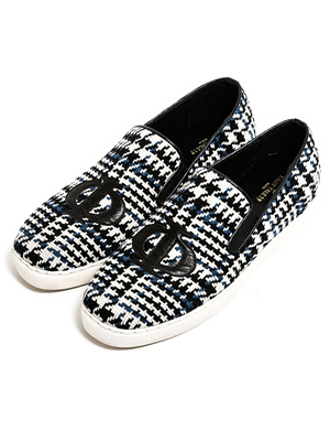 Blue check slip-on